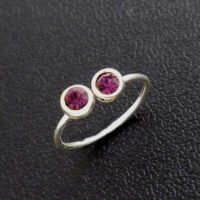 Double bordered jewel toe ring