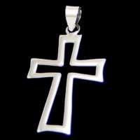 flared hollow cross pendant