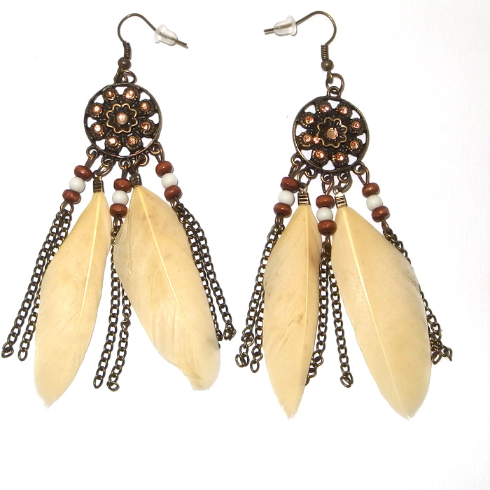 Home Costume Jewellery Necklaces Indian Feather Earrings