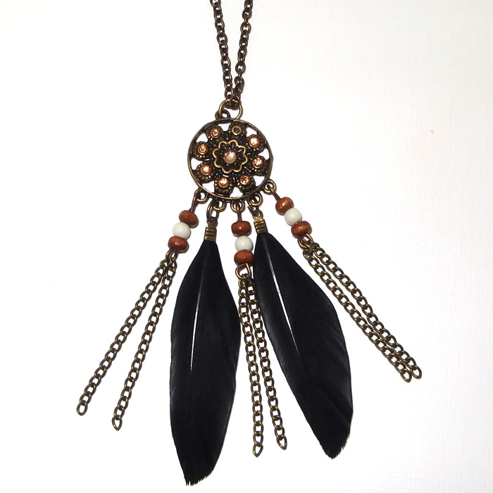 Indian Feather Necklace Silver Surfers