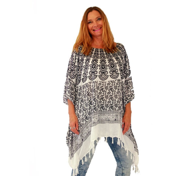 2bbc27d2b38ae3 Home   Clothing   Women s Clothing   Women s Tops   Resort wear Tassel  Poncho Top Beach Cover Up