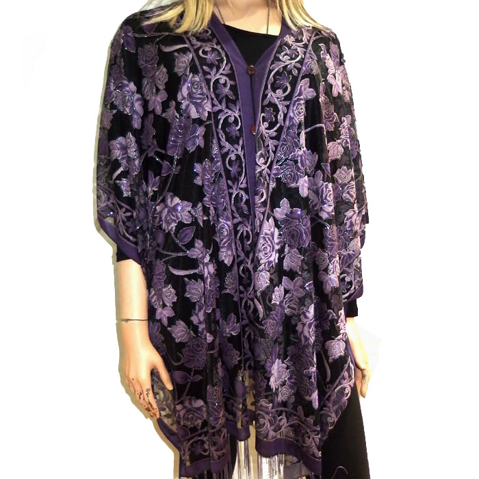 Rose Pattern Sheer Evening Poncho Silver Surfers