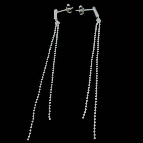 Home Sterling Silver Earrings Long Dangle Double Ball Chain Earring