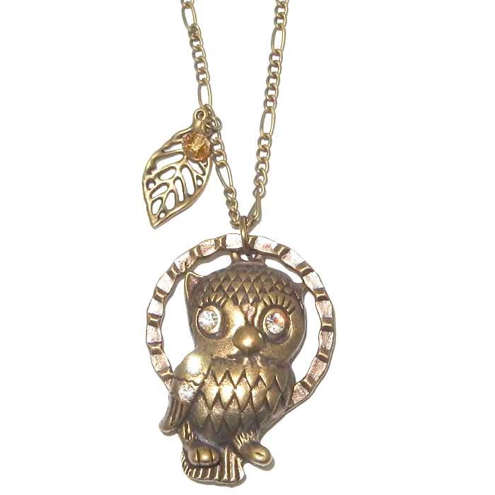 Antique Owl Necklace Golden