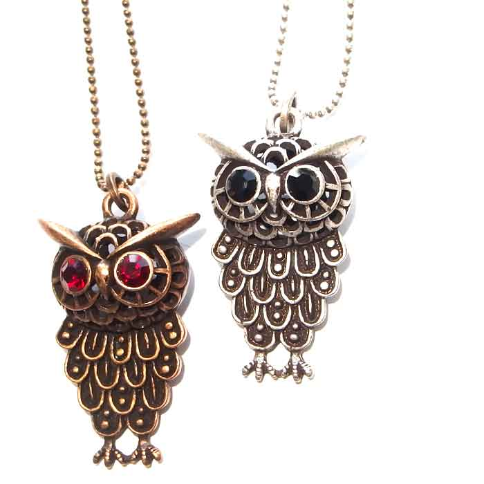 Antique Owl Necklace Long